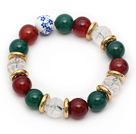 Wholesale Assorted Round Green Agate and Carnelian and Clear Crystal Lotus Stretch Bracelet