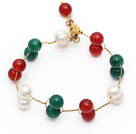Wholesale 2013 Christmas Design White Freshwater Pearl and Green Agate and Carnelian Wire Bracelet