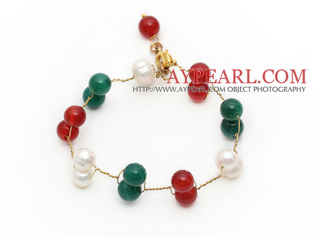 2013 Christmas Design White Freshwater Pearl and Green Agate and Carnelian Wire Bracelet