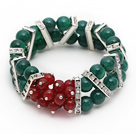 Wholesale 2013 Christmas Design Green Double Rows Agate and Carnelian Stretch Bracelet with Rhinestone Accessories