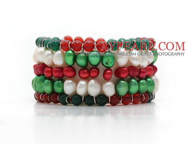 2013 Christmas Design Multi Rows Pearl and Green Agate and Carnelian Stretch Cuff Bracelet