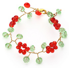 Discount 2014 Christmas Design Red and Green Crystal Crocheted Bracelet