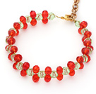 Discount 2014 Christmas Design 6mm Red and Green Crystal Bracelet with Extendable Chain