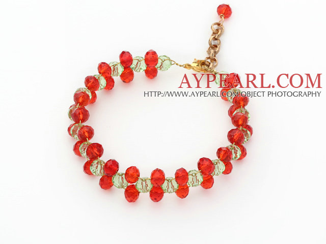 2014 Christmas Design 6mm Red and Green Crystal Bracelet with Extendable Chain