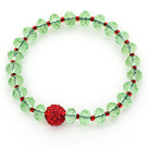 2014 Christmas Design Faceted Green Crystal and Red Round Rhinestone Ball Stretch Bracelet
