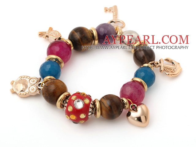 Assorted Smoky Quartz and Tiger Eye and Agate and Amethyst Multi Color Multi Stone Stretch Charm Bracelet