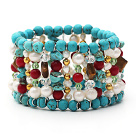 Assorted Turquoise and Red Coral and White Pearl and Tiger Eye Stretch Cuff Bracelet