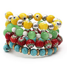Multi Color Assorted Turquoise and Cats Eye and Colored Glaze Wrap Bracelet