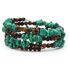 Assorted Turquoise Chips and Tiger Eye Three Times Wrapped Bracelet