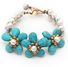 Wholesale Elegant Style White Freshwater Pearl and Turquoise Flower Bracelet