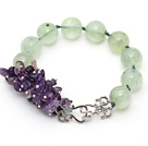 New Design Assorted Round Prehnite and Amethyst Knotted Bracelet