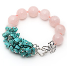 Wholesale New Design Round Rose Quartz and Turquoise Chips Knotted Bracelet