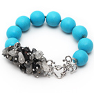 Wholesale New Design Round Blue Turquoise and Black Rutilated Quartz Knotted Bracelet