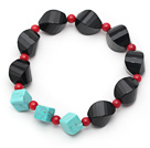 Assorted Irregular Shape Black Agate and Red Coral and Turquose Stretch Bracelet