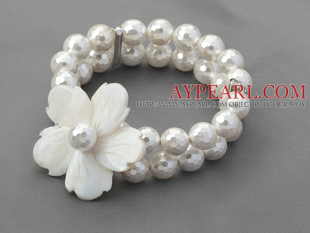 Double Strands Faceted White Seashell and White Shell Flower Stretch Bracelet