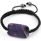 Simple Design Rectange Shape Purple Crystallized Burst Pattern Agate and Hematite Beads Adjustable Drawstring Bracelet