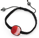 Simple Design Fillet Square Shape Red Burst Pattern Agate and Hematite Beads Adjustable Drawstring Bracelet