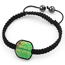 Simple Design Fillet Square Shape Green Burst Pattern Agate and Hematite Beads Adjustable Drawstring Bracelet