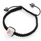 Simple Design Square Shape Pink Flower and White Porcelain and Hematite Beads Adjustable Drawstring Bracelet