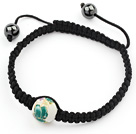 Simple Design Round Green and White Porcelain and Hematite Beads Adjustable Drawstring Bracelet