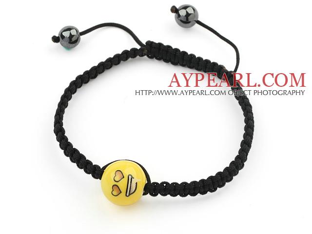 Simple Design Lovely Porcelain Beads and Hematite Beads Adjustable Drawstring Bracelet