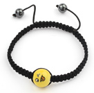 Simple Design Smiling Porcelain Beads and Hematite Beads Adjustable Drawstring Bracelet