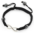 Simple Design Alloy Accessory and Hematite Beads Adjustable Drawstring Bracelet