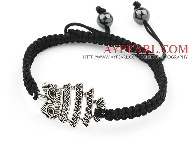 Simple Design Alloy Owl Shape and Hematite Beads Adjustable Drawstring Bracelet