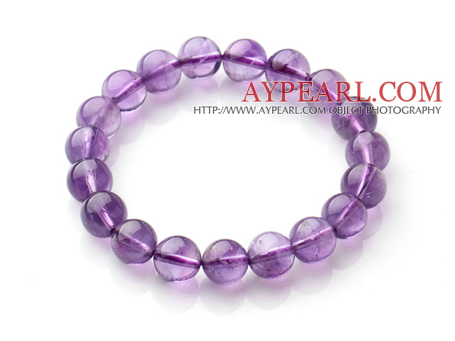 2014 Popular Style A Grade Natural Round 10mm Amethyst Elastic Bracelet