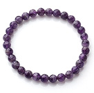 Chic Simple Design Single Strand 6mm Natur facettierte Amethyst Perlen elastische Armband