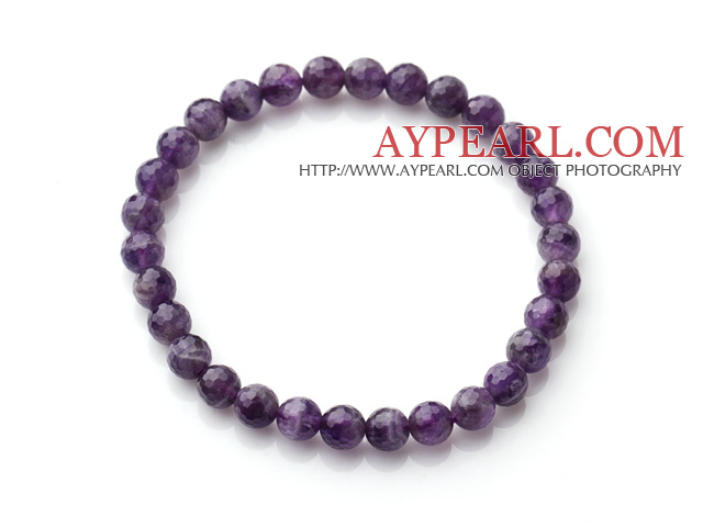 Chic Simple Design Single Strand 6mm Round Natural Faceted Amethyst Beads Elastic Bracelet