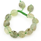 Green Series Fillet Irregular Shape Prehnite Knotted Adjustable Drawstring Bracelet