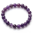 Chic Simple Design Single Strand 8mm Round Natural Faceted Amethyst Beads Elastic Bracelet