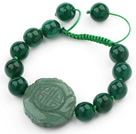 Green Series Assorted Round Aventurine Knotted Adjustable Drawstring Bracelet