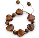 Brown Series Heart and Round Shape Tiger Eye Knotted Adjustable Drawstring Bracelet