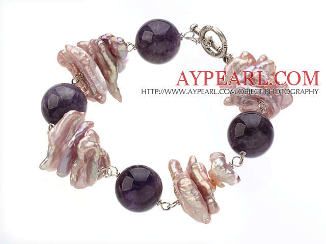 Speical Design Round Ball Shape Amethyst And Lavender Color Biwa Pearl Bracelet With Toggle Clasp