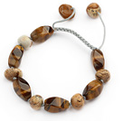 Brown Series Tiger Eye and Picture Jasper Knotted Adjustable Drawstring Bracelet