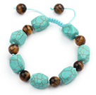 Green Series Polygon Shape Turquoise and Tiger Eye Knotted Adjustable Drawstring Bracelet