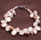 Mote Natural Pirple Ferskvann Button Pearl Bracelet
