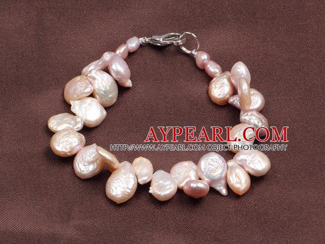 Fashion Natural Pirple Freshwater Button Pearl Bracelet