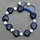 Dark Blue Series Heart Shape Lapis and White Porcelain Stone Knotted Adjustable Drawstring Bracelet
