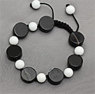 Black Series Flat Round Black Agate and White Porcelain Stone Knotted Adjustable Drawstring Bracelet