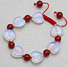 Heart Shape Opal Stone and Round Carnelian Knotted Adjustable Drawstring Bracelet