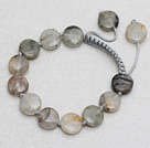 Gray Series Flat Round Gray Clouds Crystal Knotted Adjustable Drawstring Bracelet