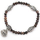 Wholesale nice round red jasper and tibet silver lolus tube charm beads bracelet