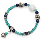 fashion round green turquoise lapis and tibet silver buddhu head heart charm bracelet