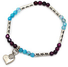 fashion 4mm round faceted purple and blue agate and tibet silver heart charm bracelet