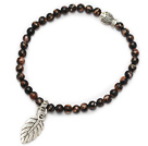 fashion 4mm round red jasper and tibet silver fish leaf charm beaded bracelet