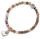 round persia agate and tibet silver heart charm beaded bracelet