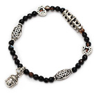 nice faceted round black agate and tibet silver buddhu head heart charm beads bracelet